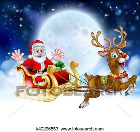 Christmas Cartoon Santa Reindeer Sleigh Scene Clipart.