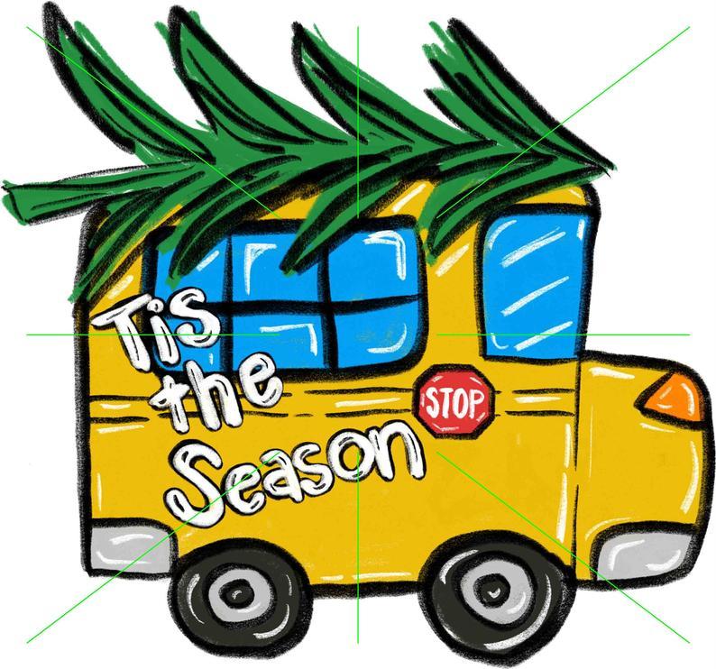Tis The Season School Bus, Christmas, Sublimation Transfer, Shirt Design,  KindredCreationsMO.