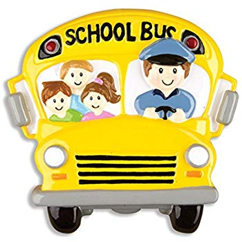 Personalized School Bus Driver Christmas Ornament.