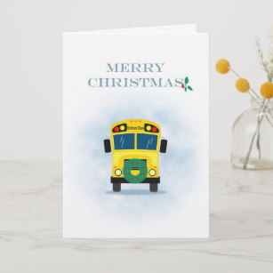 Merry Christmas School Bus Driver Holiday Card.