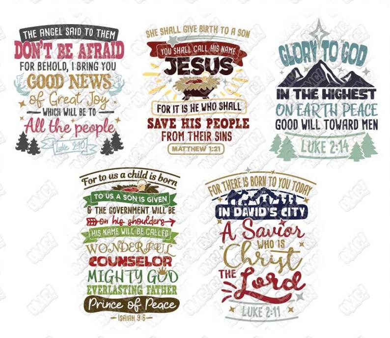 Christmas Bible Verse SVG Bundle Scripture Luke svg dxf eps jpeg png format  layered cutting files clipart die cut cricut silhouette.