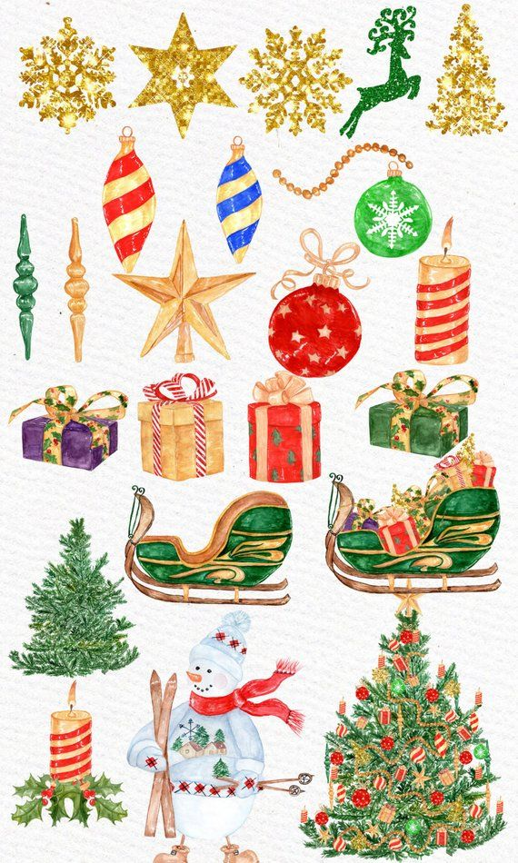Watercolor Christmas clipart: