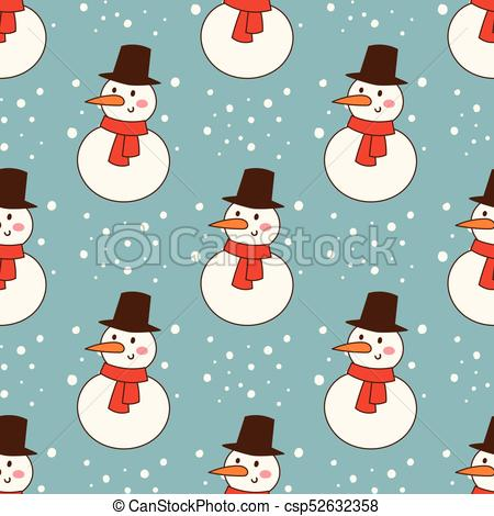 Snowman cold christmas season winter seamless pattern man in hat character  xmas background holiday card vector illustration.