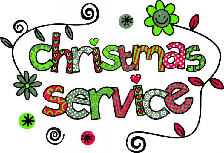 Christmas Service Doodle Text ClipArt.