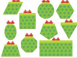 Gift Shapes Clipart, Present Shapes Clipart, 2D Shapes Christmas Clip Art.