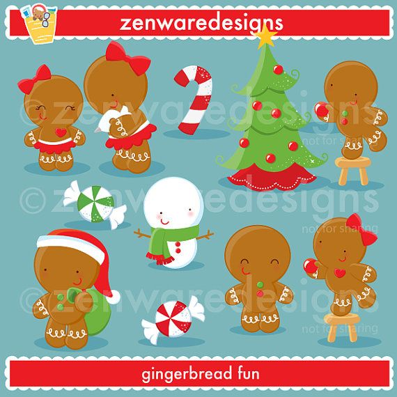 Gingerbread Christmas Clipart.