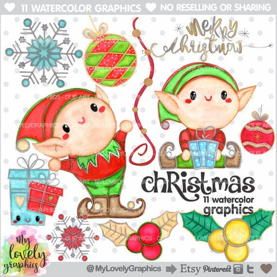 Christmas Clipart, Christmas Watercolor, COMMERCIAL USE, Elf Clipart.