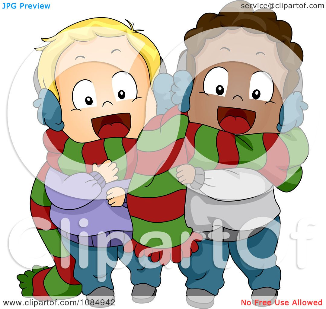 Clipart Christmas Toddlers Sharing A Scarf.