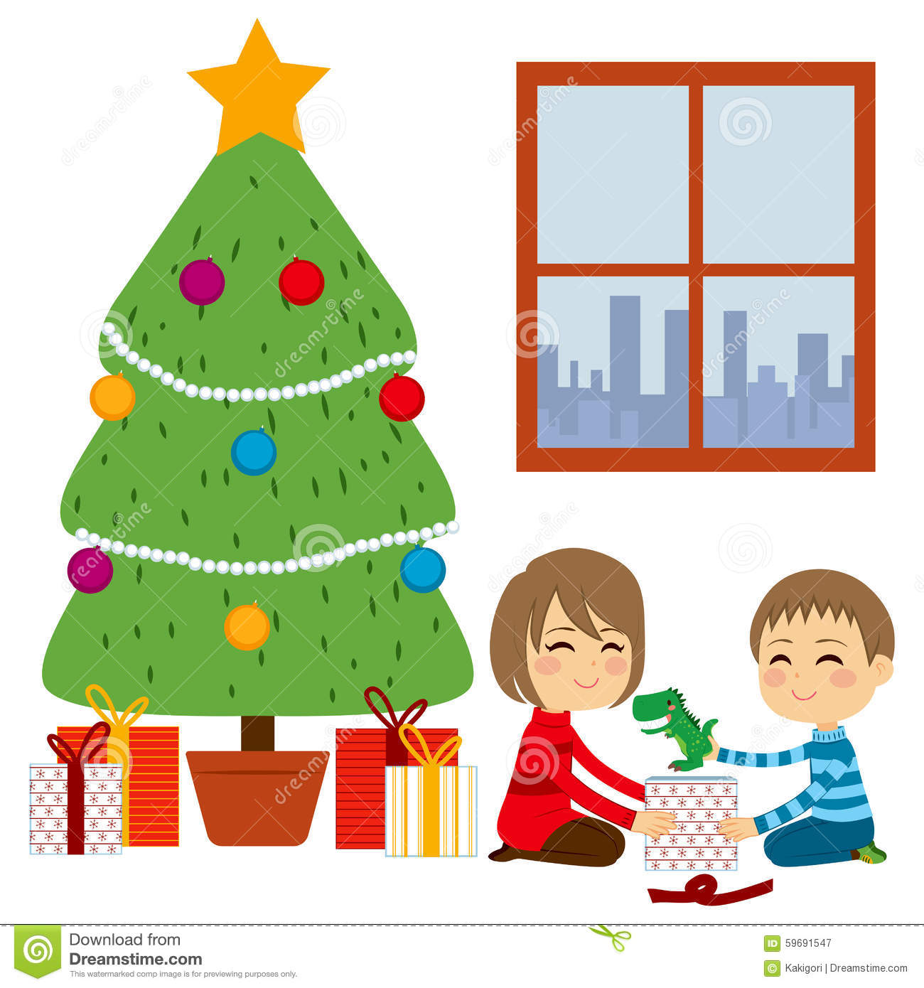 Children Opening Christmas Gifts Stock Vector.