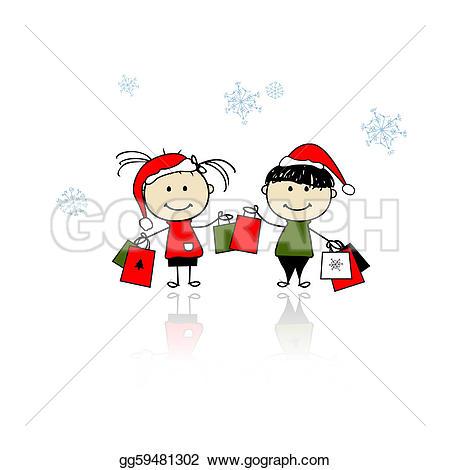 Christmas Shopping Clip Art.