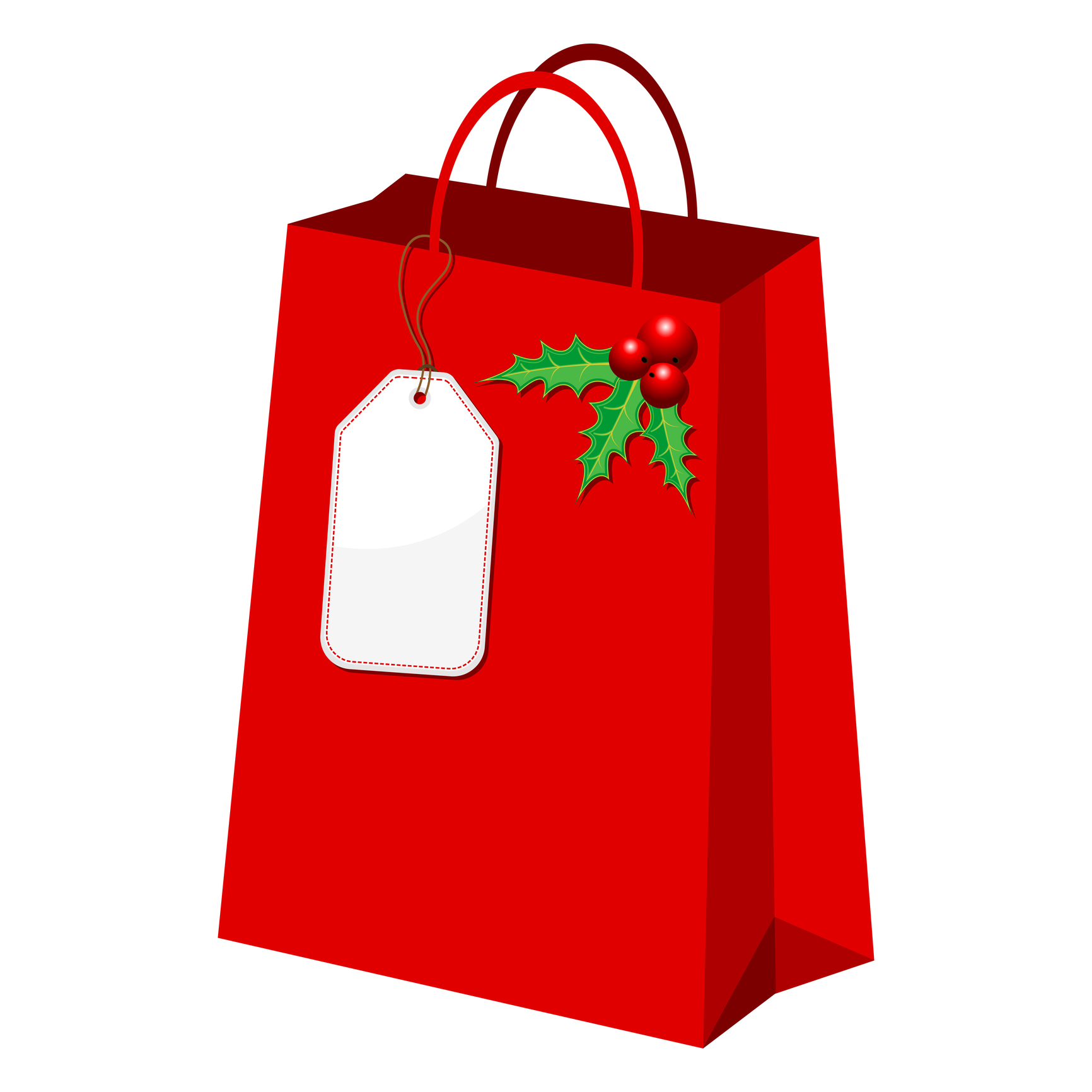 Christmas shopping bag clipart.