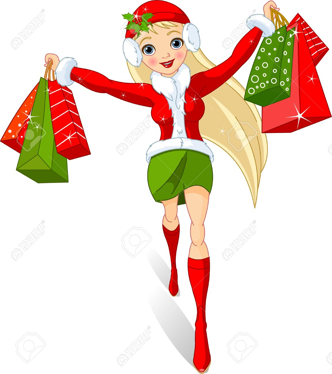 Christmas shopping. Illustration of a girl with shopping bags.