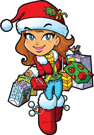 Clipart image of a girl in red doing her Christmas shopping.