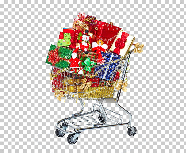 Gift Shopping cart Christmas, Christmas Shopping Cart PNG.