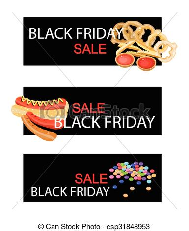 Clipart Vector of Snack Food on Black Friday Sale Banner.