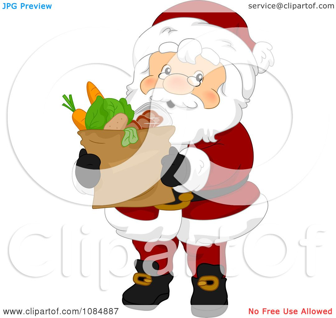 Clipart Santa Claus Carrying A Bag Of Groceries.