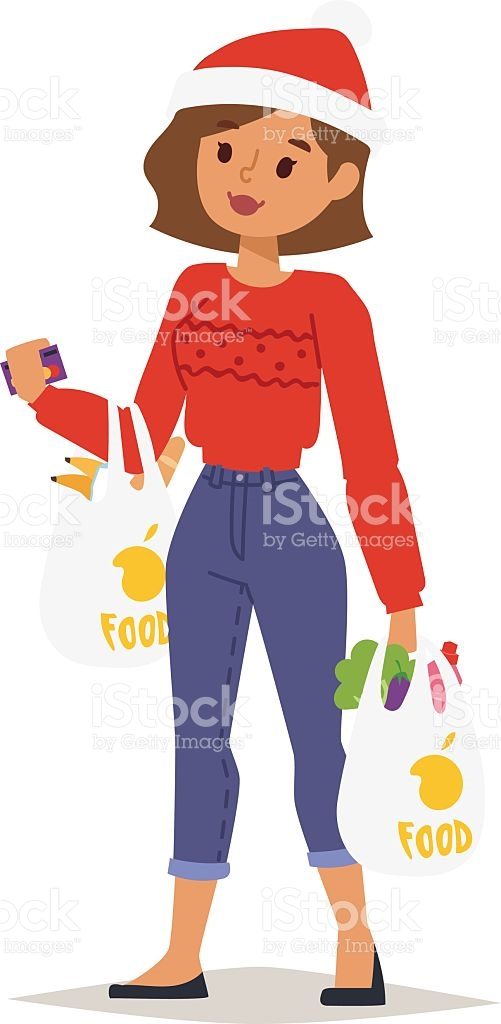 Christmas Shopping Girl Vector stock vector art 626247414.