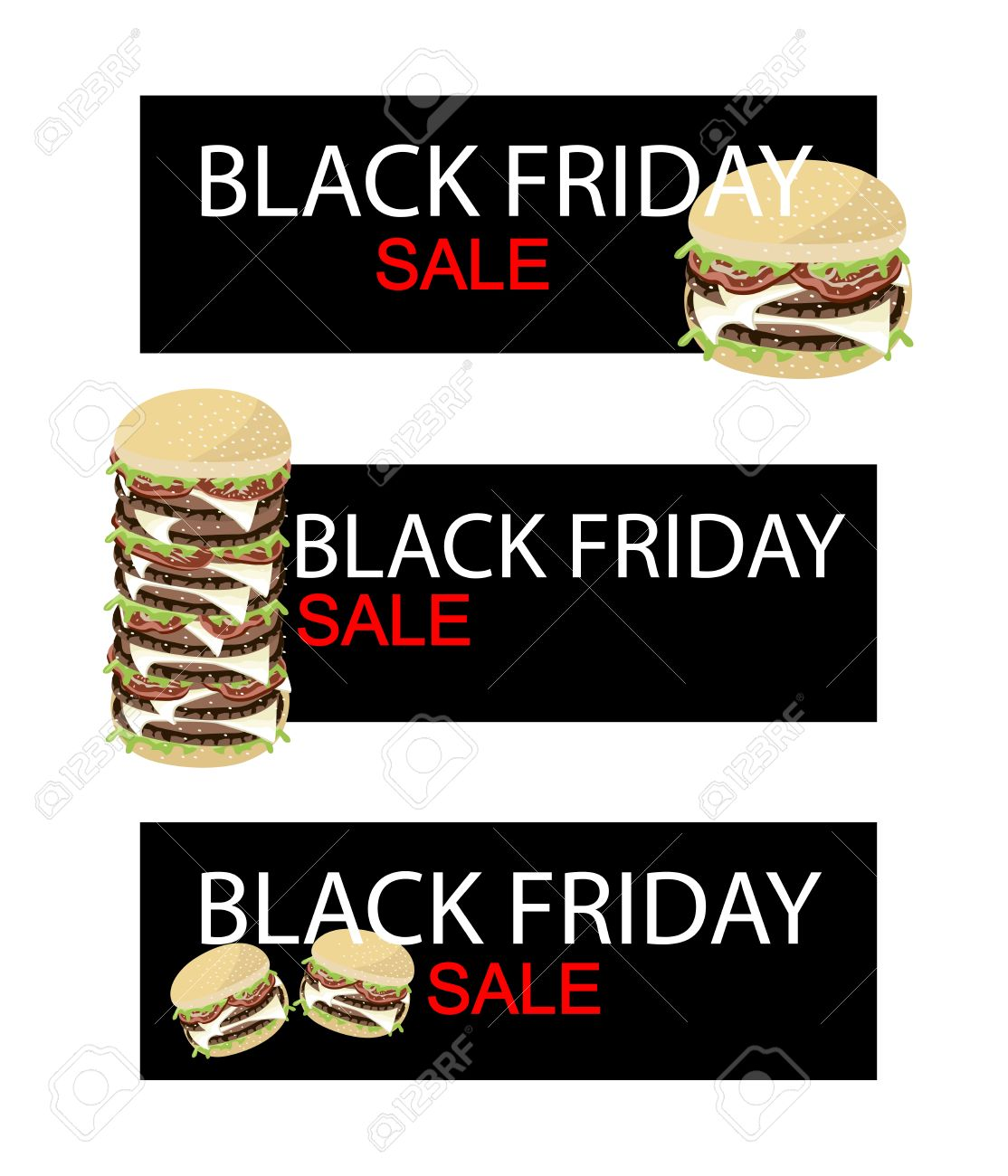 Illustration Of Delicious Burgery On Black Friday Shopping Banner.