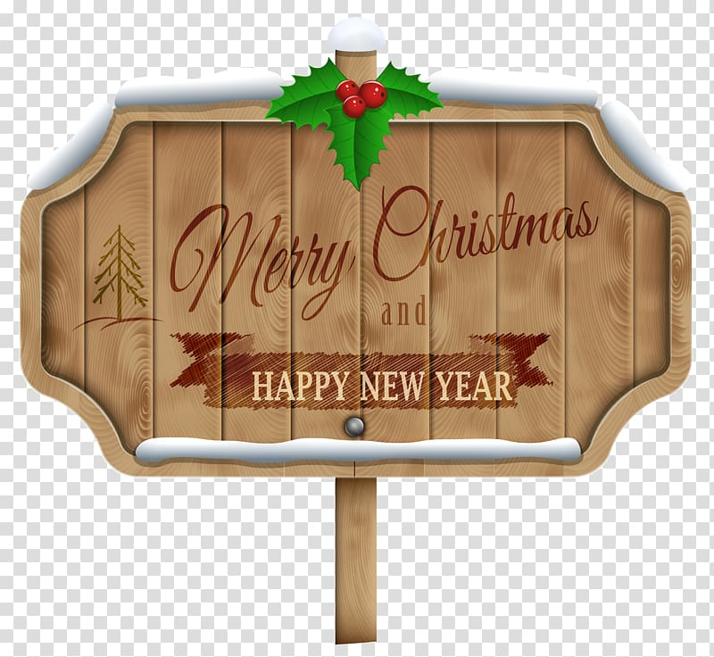 Merry christmas and happy new year sign illustration, Wood.