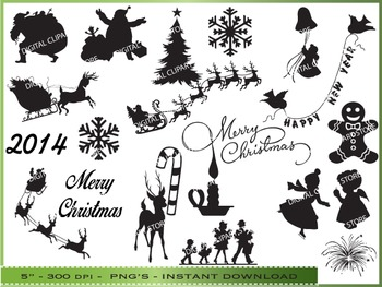 Christmas Silhouette Clipart.