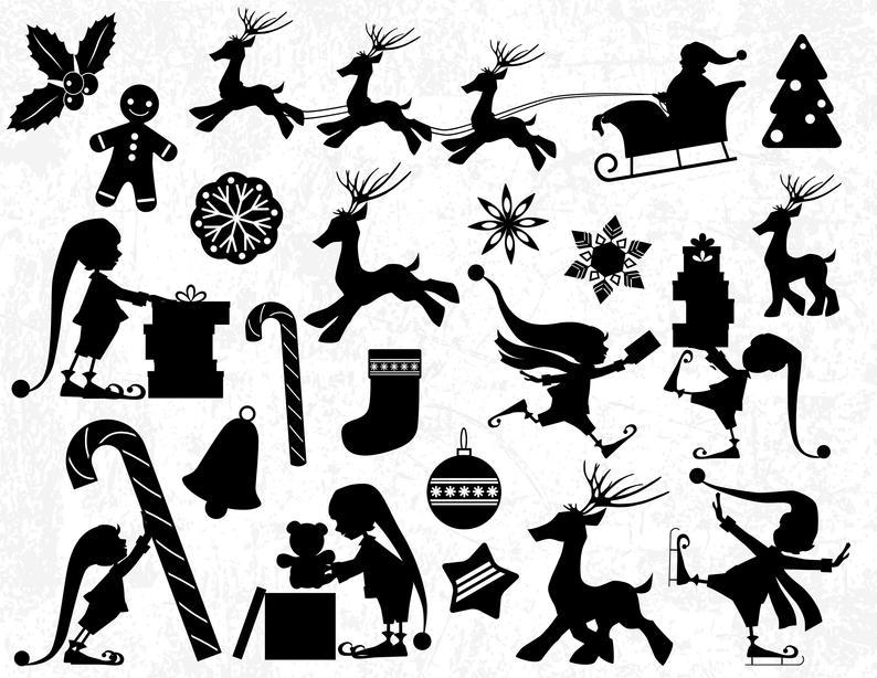 Christmas Silhouettes, Christmas Silhouette Clip Arts Cut Files, Christmas  SVG for Silhouette Studio and Cricut, Christmas Vinyl Designs.