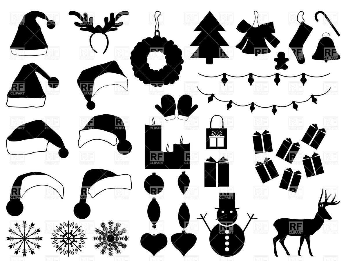 Silhouettes of Christmas hats and decorations.