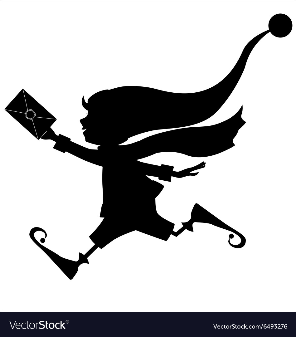 Silhouette of runing Christmas elf with letter.