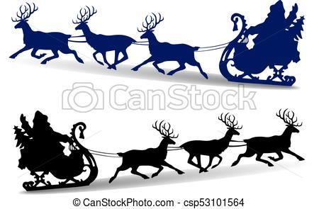 Christmas Silhouette of Santa Claus rides in a sleigh on deer, cartoon on  white background,.