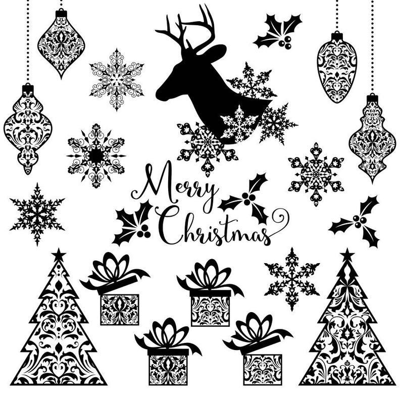 Christmas Clipart Set, christmas silhouette clipart, xmas clipart set,  holiday clipart, christmas tree clipart, snowflake clipart, deer.