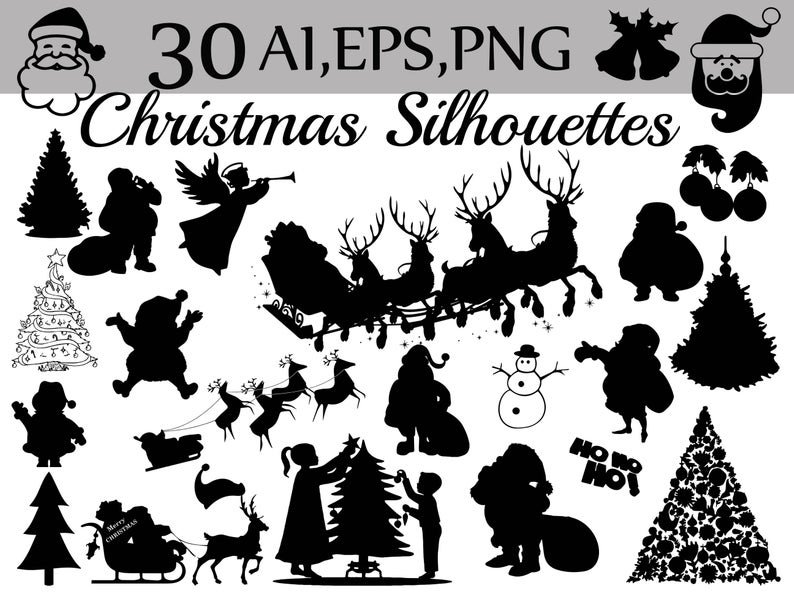 Christmas Silhouettes Clipart: