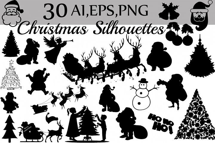 Christmas Silhouettes Clipart.