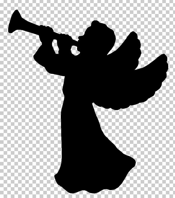 Christmas Silhouette Angel PNG, Clipart, Angel, Black And White.