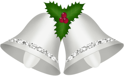 Transparent Christmas Silver Bells with Mistletoe Clipart.