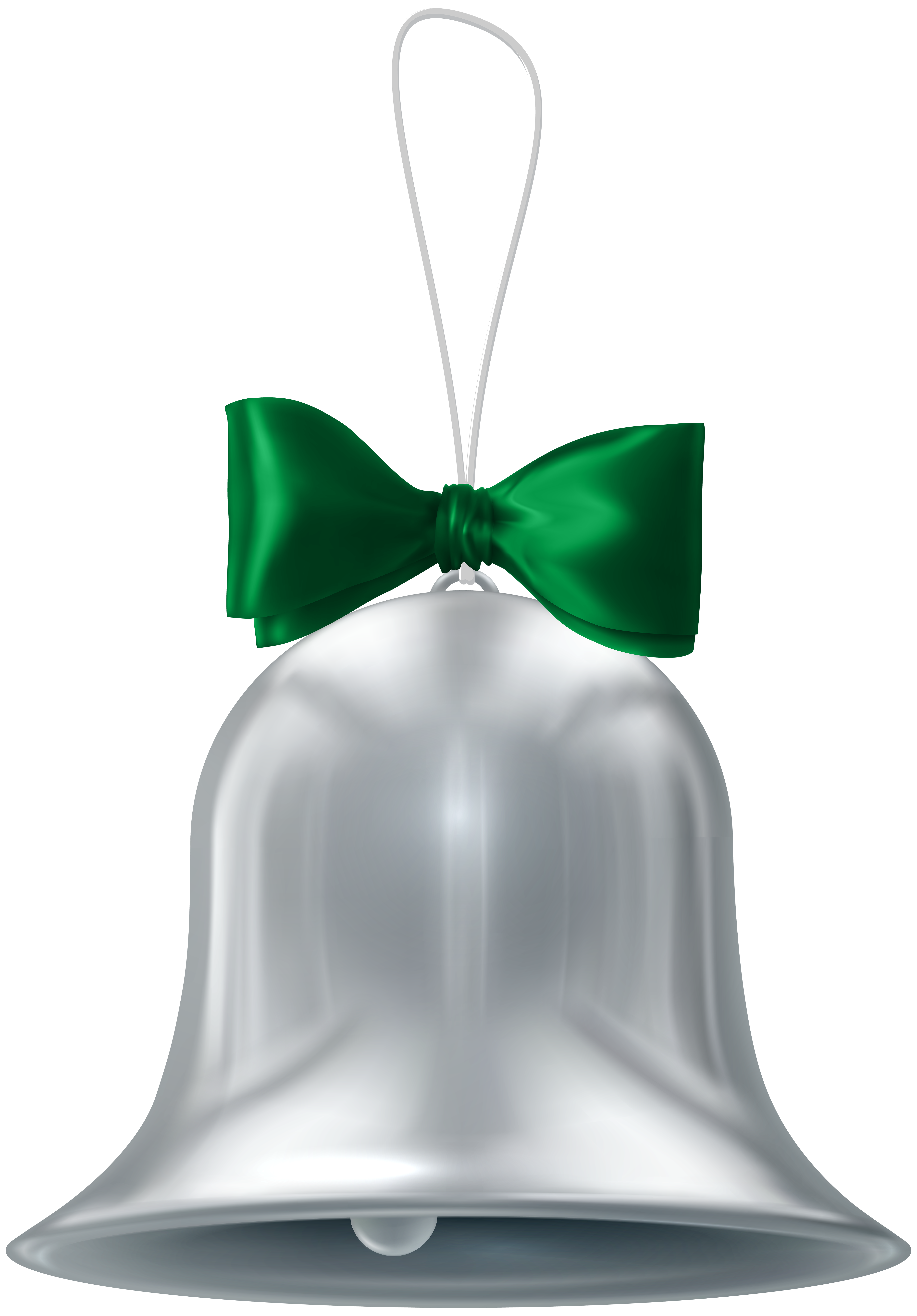 Christmas Silver Bell Transparent PNG Clip Art.