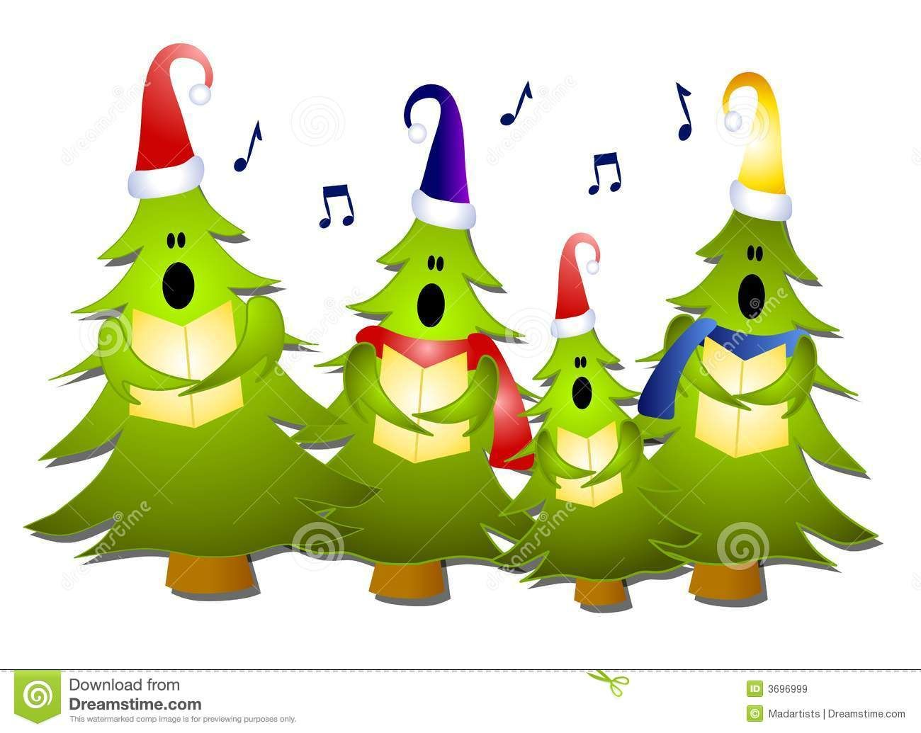 Clip Art Illustration Of A Group Of Christmas Tree Carolers Singing.