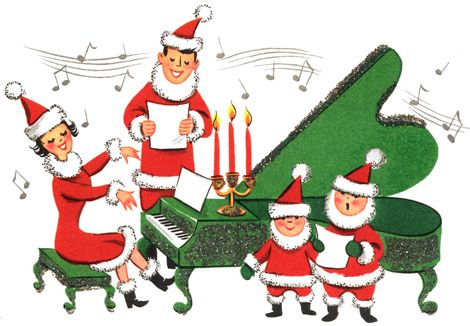 Clipart Image of a family singing Christmas carols around a piano.
