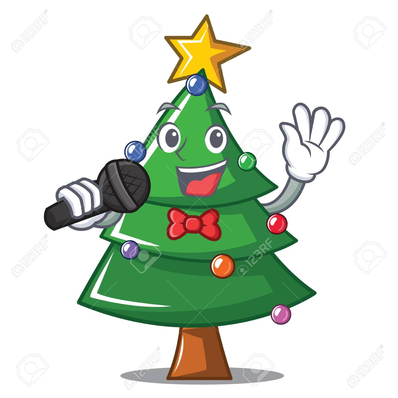 Singing Christmas tree character cartoon vector illustration.