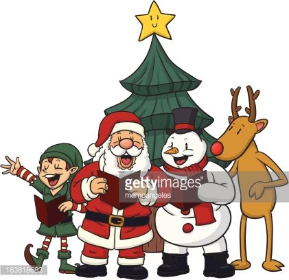 Christmas Characters Singing premium clipart.