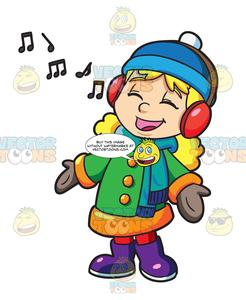 A Girl Singing Along To A Christmas Song Playing On Her Headphones.