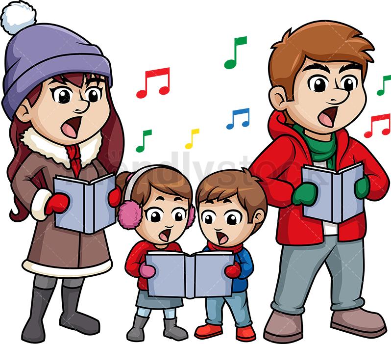 Family Singing Christmas Carols.