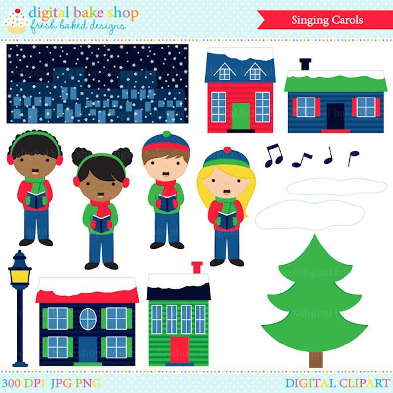 christmas clipart clip art digital sing carols singing.
