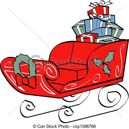 Christmas Santa's Sleigh Clip Art.