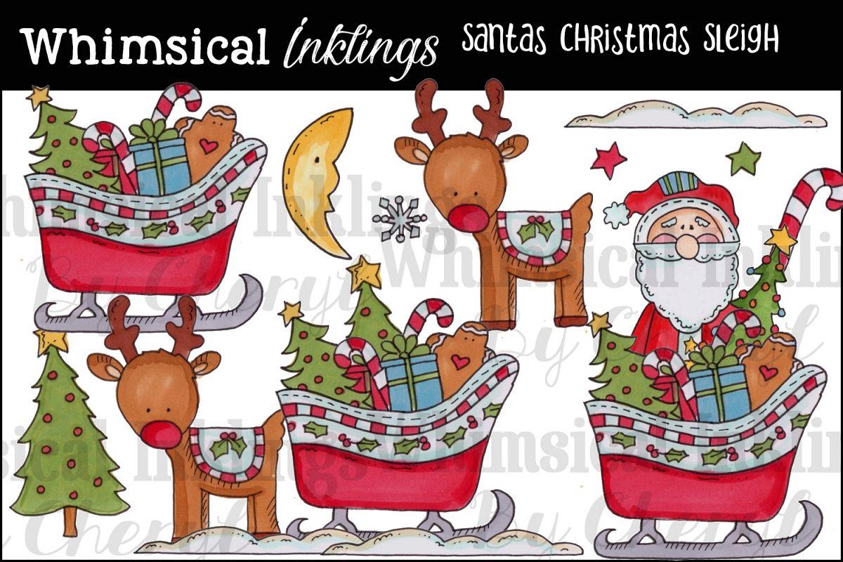 Santas Christmas Sleigh Clipart Collection.