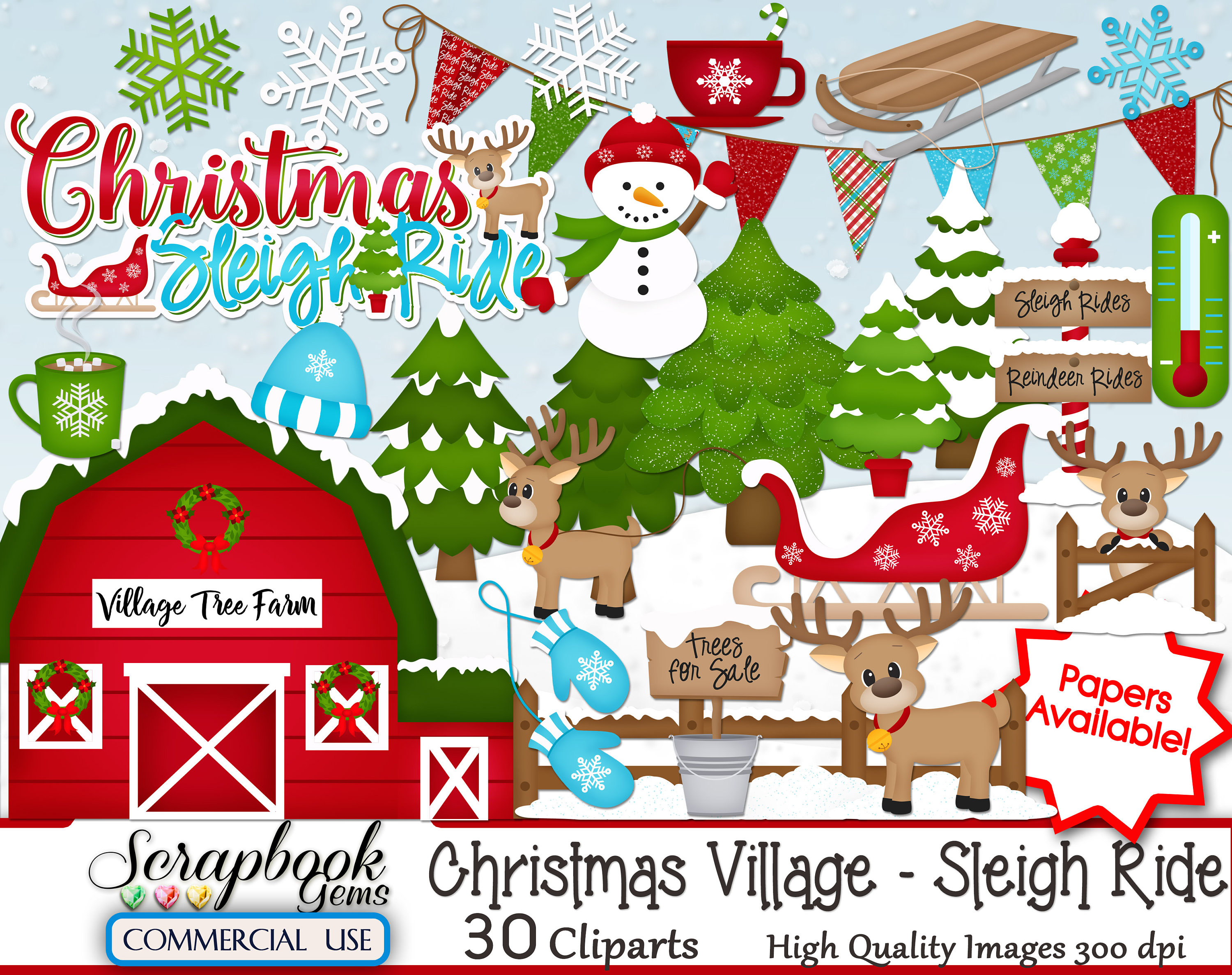 CHRISTMAS SLEIGH RIDE Clipart, 30 png Clipart files, Instant Download,  winter, snowman, village, reindeer, pine tree, snowman, mittens, snow.