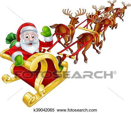 Santa and Reindeer Christmas Sleigh Clipart.