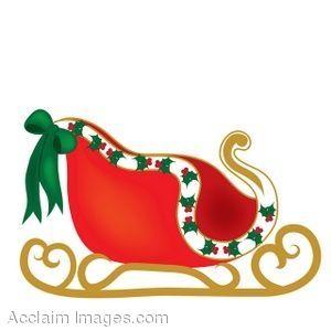 Clip Art of A Christmas Sleigh.