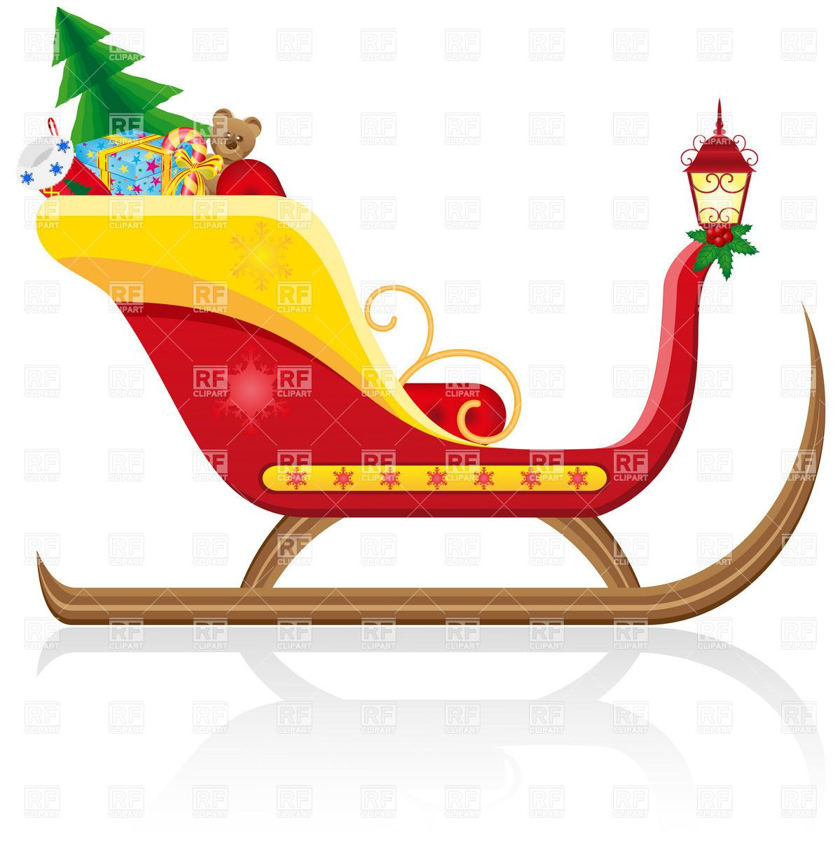Santa Claus\' Christmas sleigh with gifts Stock Vector Image.
