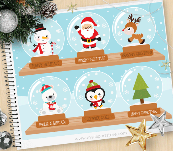 Christmas Snow Globes Clipart.