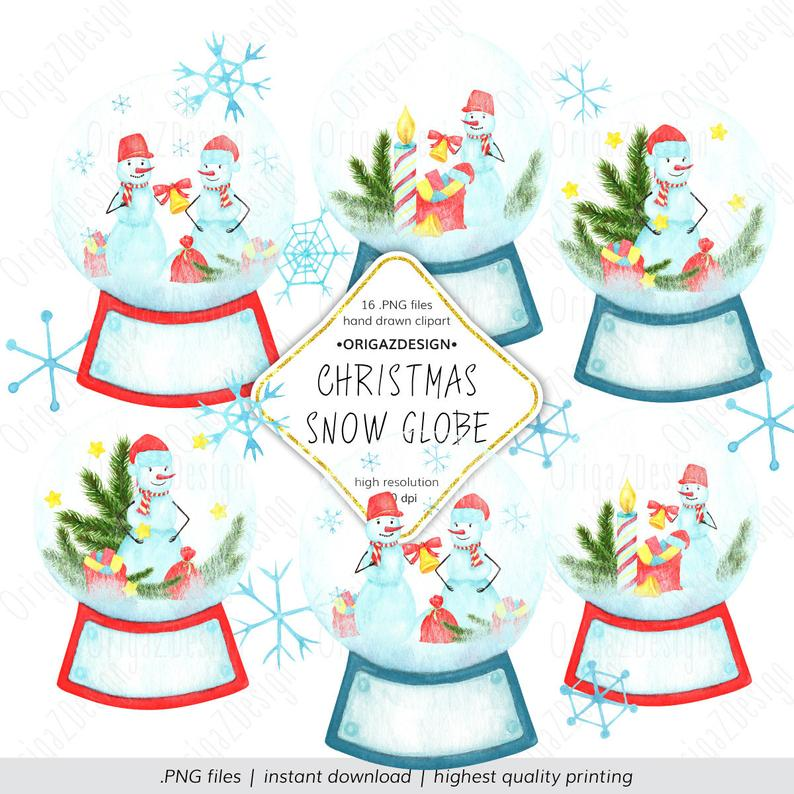 Christmas Snow globe Clip Art Watercolor Winter ClipArt Snowman Snowflake  Vintage Christmas New Year Xmas PNG instant download Commercial.