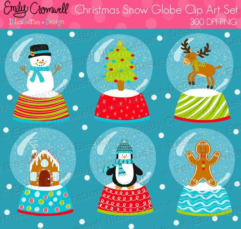 Christmas Snow Globe Digital Clipart, Christmas Clipart, Cute Clipart,  Gingerbread Man, Snowman, Snow Globe, Instant Download, PNG.
